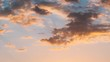 Sunrise Sky. Bright Dramatic Sky With Fluffy Clouds. Yellow, Orange, Blue And Magenta Colours