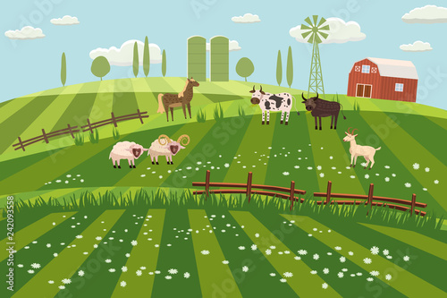 Rural countryside landscape, farmhouse, spring, summer, green meadows, fields, wildflowers, horse, cow, bull, sheep, ram, goat, hills, trees on the horizon, fence, vector, illustration, isolated