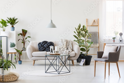 Coffee Table In The Middle Of Scandinavian Living Room Interior With White Sofa Urban