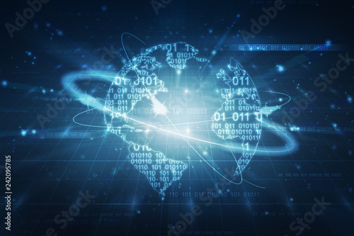 Photo  2d illustration abstract digital binary data on computer screen