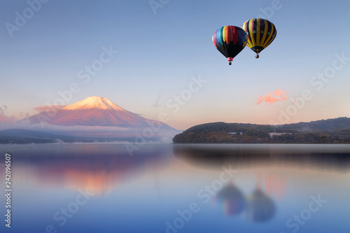 Recess Fitting Balloon Hot air balloon flying over the lake with Mount Fuji in background