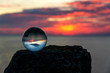 Upside down sunset landscape at Cape Kaliakra, Bulgaria, Eastern Europe - reflection in a lensball - selective focus, space for text