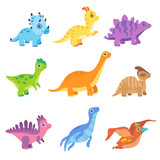 Fototapeta Dinusie - Collection of cute colorful dinosaurs, funny baby dino cartoon characters vector Illustration