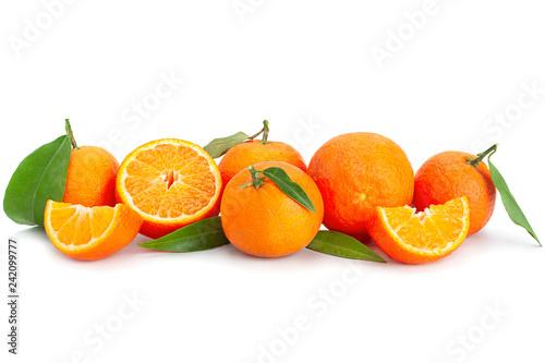 Clementine citrus fruit on white