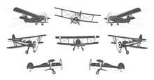 A Lot Of Vintage Planes Logo Element Design