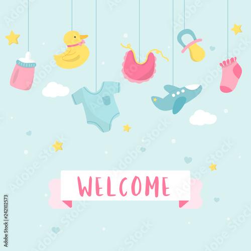 Fotografie, Obraz  Baby shower invitation card design
