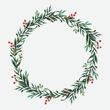 Round Christmas Wreath Vector ...