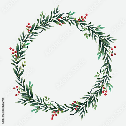 Round Christmas wreath vector watercolor style Fototapet