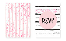 Pink Glitter Cards With Dots And Sequins. Wedding And Bridal Sho