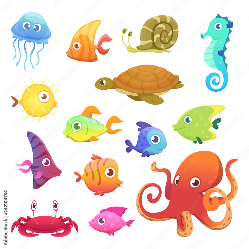 Fototapeta Underwater animals. Ocean sea animals fish octopus turtle seahorse vector characters. Sea marine fish and octopus, wild fauna illustration