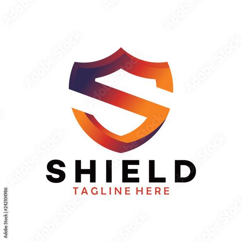 Fotografia  shield logo with s letter