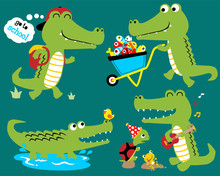 Vector Set Of Funny Crocodile Cartoon
