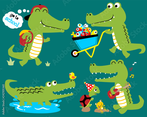 Vector set of funny crocodile cartoon Tableau sur Toile
