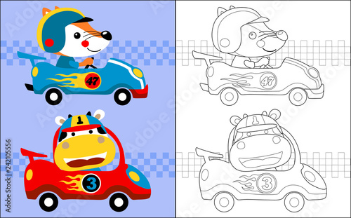 Valokuvatapetti Vector illustration of coloring book with car racing cartoon with funny racer
