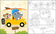 coloring book or page with funny animals cartoon, rhino and monkey on car, trip to beach