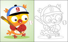 Coloring Book Or Page With Nice Owl Cartoon The Baseball Player