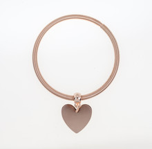 Rose Pink Heart Braclet Isolated Against White Background