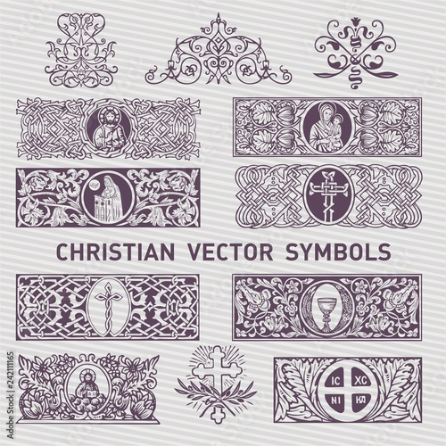 Fotografie, Obraz  Collection of Christian Symboland Decor vector design elements
