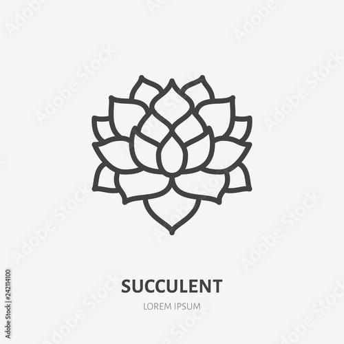Fototapeta Succulent flat line icon. Vector thin sign of house plant, botanical logo. Nature illustration, home garden shop symbol obraz