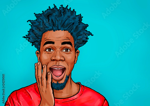 Portrait of black man  says wow with open mouth to see something unexpected. Shocked  guy with surprised expression. Emotions concept