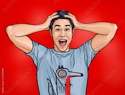 Portrait of amazed asian man  says wow with open mouth to see something unexpected. Shocked  guy with surprised expression. Emotions concept.Happy men.Technology design