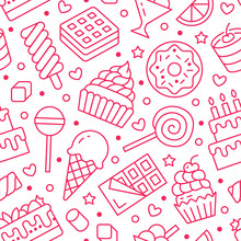 Sweet Food Seamless Pattern With Flat Line Icons. Pastry Vector Illustrations - Lollipop, Chocolate Bar, Milkshake, Cookie, Birthday Cake, Candy Shop. Cute Pink White Background For Confectionery