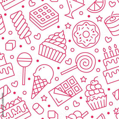 fototapeta na ścianę Sweet food seamless pattern with flat line icons. Pastry vector illustrations - lollipop, chocolate bar, milkshake, cookie, birthday cake, candy shop. Cute pink white background for confectionery