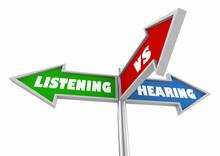 Listening Vs Hearing Three 3 Way Street Signs 3d Illustration