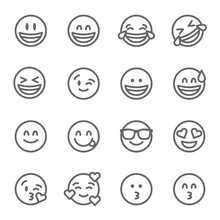 Smiley Face Emoji Vector Line Icon Set. Contains Such Icons As Grinning Face, Smiling Face , Savoring Face And More. Expanded Stroke