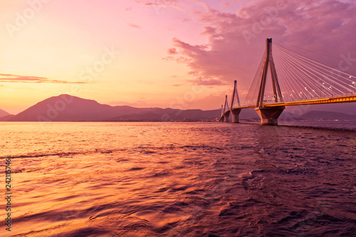 Printed kitchen splashbacks Rio de Janeiro Greek sunset in Peloponnese, Rio Antirio bridge scenic view