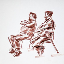 Two Men Seating On Chairs And ...