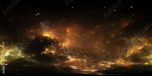 Fototapeta premium Panorama mgławicy w przestrzeni 360 stopni, projekcja w układzie prostokąta, mapa środowiska. Panorama sferyczna HDRI. Tło z mgławicy i gwiazd