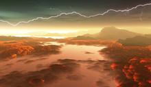 Surface Of Venus. Hot Lava Flows On Venus