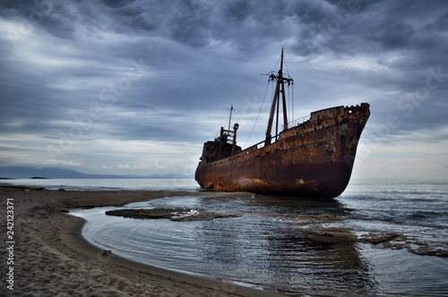 Foto op Canvas Schipbreuk Dimitrios is an old ship wrecked on the Greek coast and abandoned on the beach