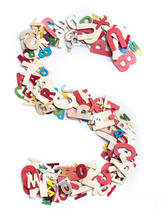Colorful Wood Alphabet Letters On White Background,letter S