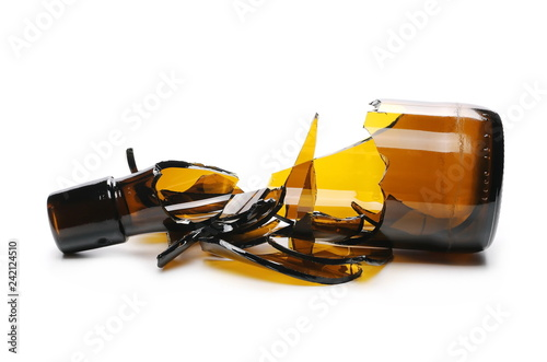 Foto op Canvas Bier / Cider Glass shards, broken bottle of beer isolated on white background, clipping path