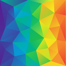 Irregular Polygon Background With A Triangular Pattern In Full Rainbow Spectrum Colors. Vector Illustration, Great Design Element For Brochure, Banner, Cover, Booklet, Flyer, Web, UI, Card, Poster
