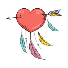 Heart With Feathers Pierced With An Arrow, Dreamcatcher As Heart. Vector In Doodle Style. Template For Valentine Day.