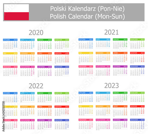 Fotografia  2020-2023 Polish Type-1 Calendar Mon-Sun on white background