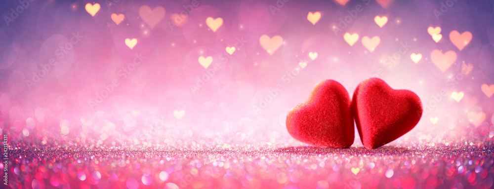 Fototapeta Two Hearts On Pink Glitter In Shiny Background - Valentine's Day Concept