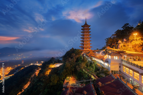 Spoed Fotobehang Bedehuis View of Pagoda of the Chinese Chin Swee Caves Temple, Genting Highlands, is a famous public tourism spot in Malaysia. Chin Swee Caves Temple is a Chinese Buddhist taoist temple