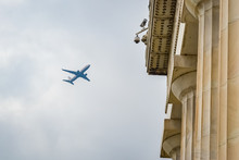 Airplane Landing From The Lincoln Memorial, Washington D.C, United States Of America