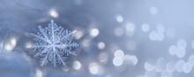 Natural Snowflakes On Snow, Photo Real Snowflakes. Winter Snow Background. Snowflake Closeup. Macro Photo. Copy Space.