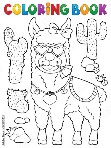 Recess Fitting For Kids Coloring book llama with love glasses 1