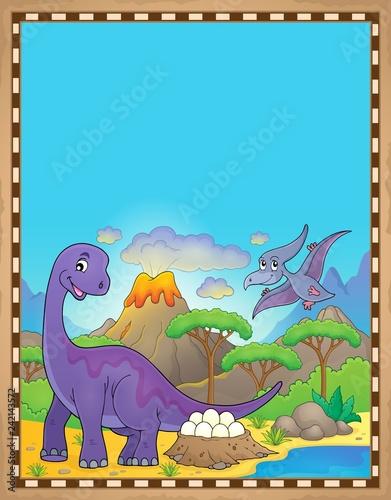 Keuken foto achterwand Voor kinderen Dinosaur theme parchment 2