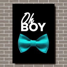 Bow Tie Poster Vector. Oh, Boy. A4 Size. Brick Wall. Elegance Formal Suit. Vertical. Realistic Illustration