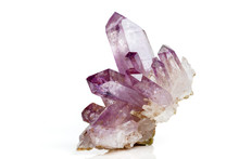 Amethyst Crystal Druse  Macro Mineral On White Background