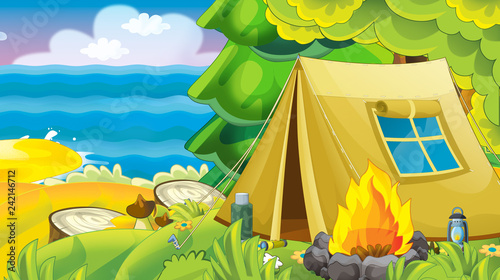 cartoon summer nature background with forest near the sea or ocean - illustration for children - 242146712