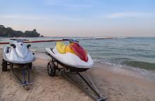 Jet Ski Rentals On Trailer Parking On The Beach