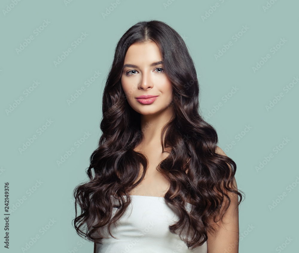 Fototapety, obrazy: Healthy hair woman. Perfect girl with long curly hairstyle. Hair care concept